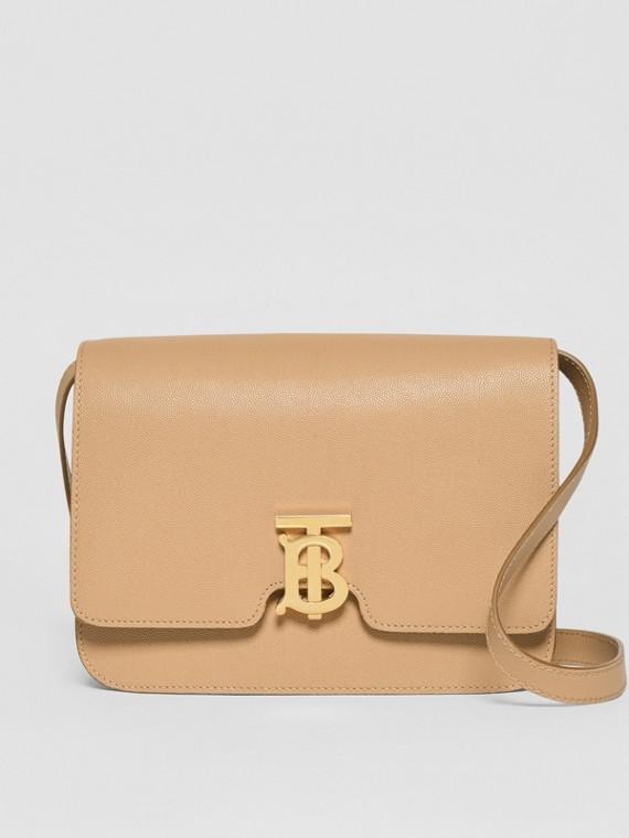 Mittelgroße TB Bag aus genarbtem Leder (Vintage-beige)