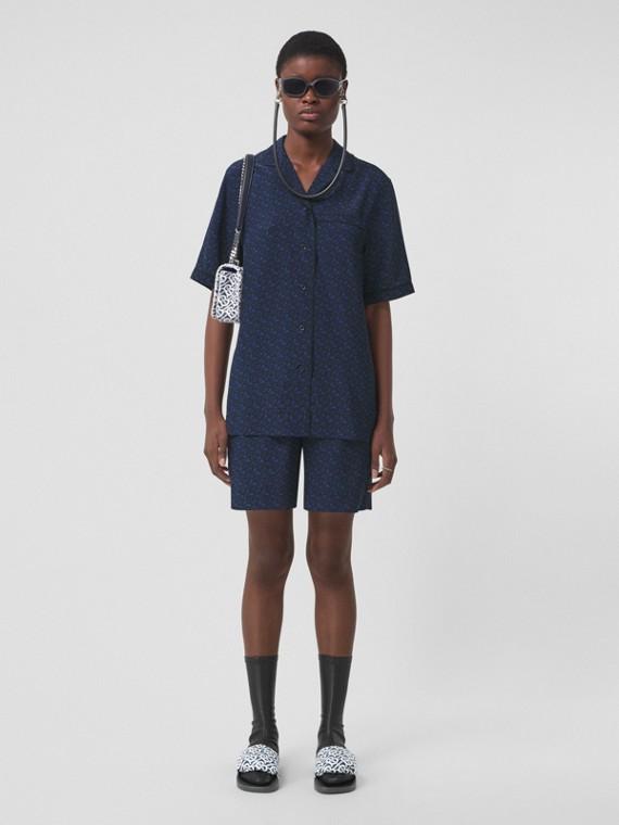 Monogram Stripe Print Silk Shorts – Online Exclusive in Deep Royal Blue