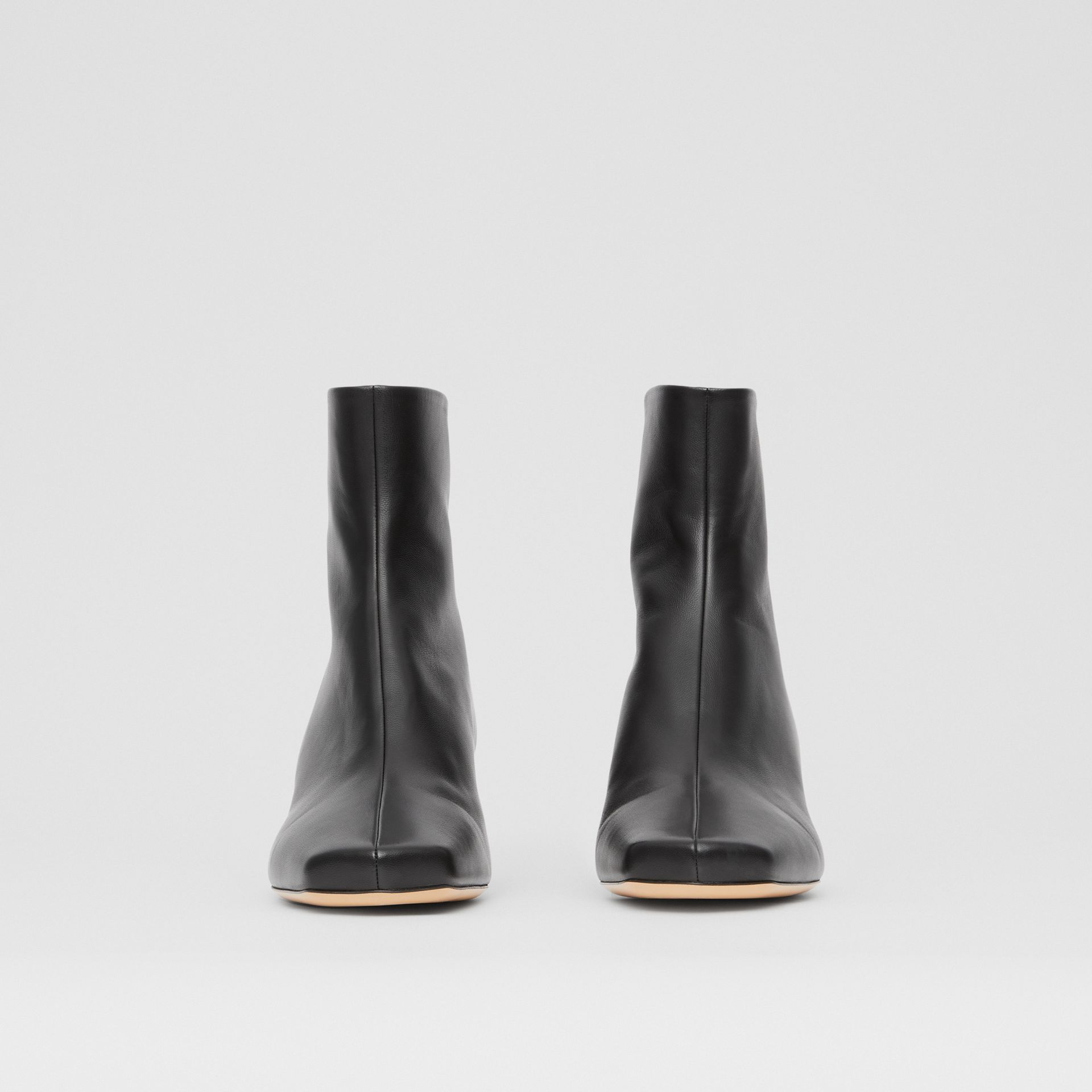Lambskin Sculptural Kitten-heel Ankle Boots in Black - Women | Burberry - gallery image 3