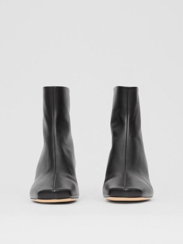Lambskin Sculptural Kitten-heel Ankle Boots in Black - Women | Burberry - cell image 3
