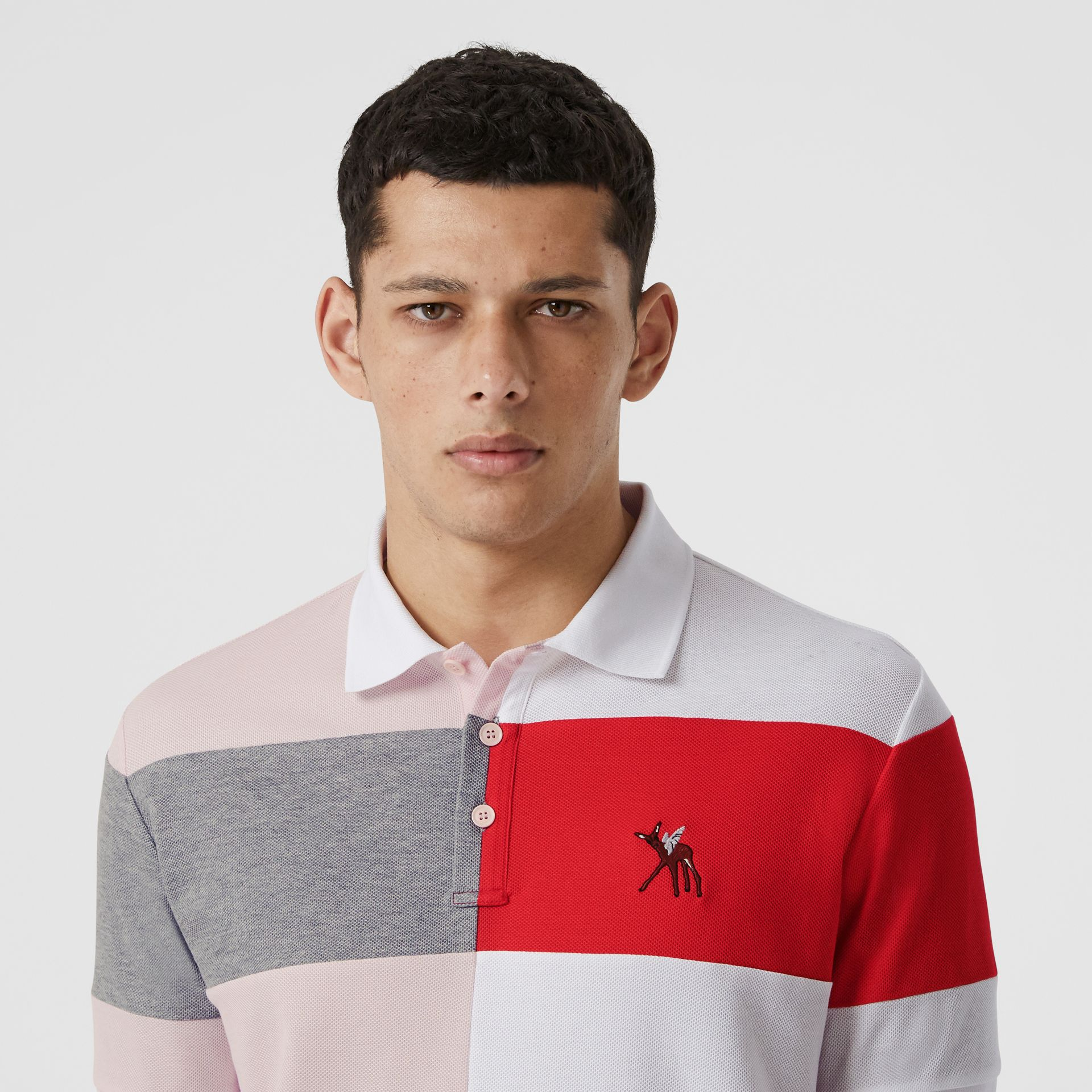 Deer Motif Colour Block Oversized Polo Shirt – Online Exclusive in Alabaster Pink - Men | Burberry - gallery image 1