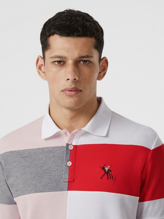 Deer Motif Colour Block Oversized Polo Shirt – Online Exclusive in Alabaster Pink - Men | Burberry - cell image 1