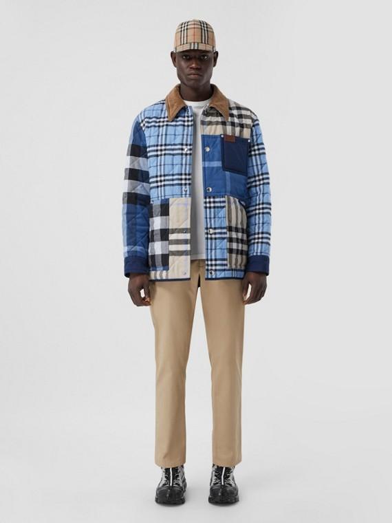 Camisa overshirt de algodão xadrez com colarinho de veludo cotelê (Amêndoa Claro)