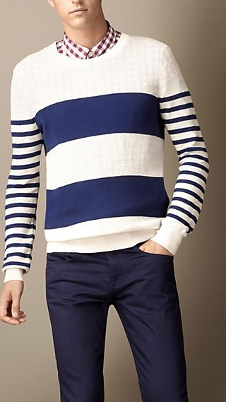 Contrast Stripe Linen Silk Sweater