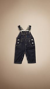 Check Lined Indigo Denim Dungarees