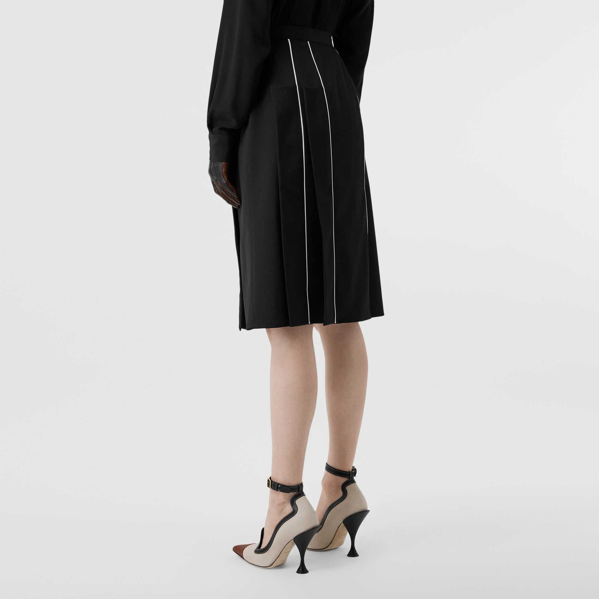 Piping Detail Stretch Wool Crepe Skirt in Black - Women | Burberry - gallery image 2