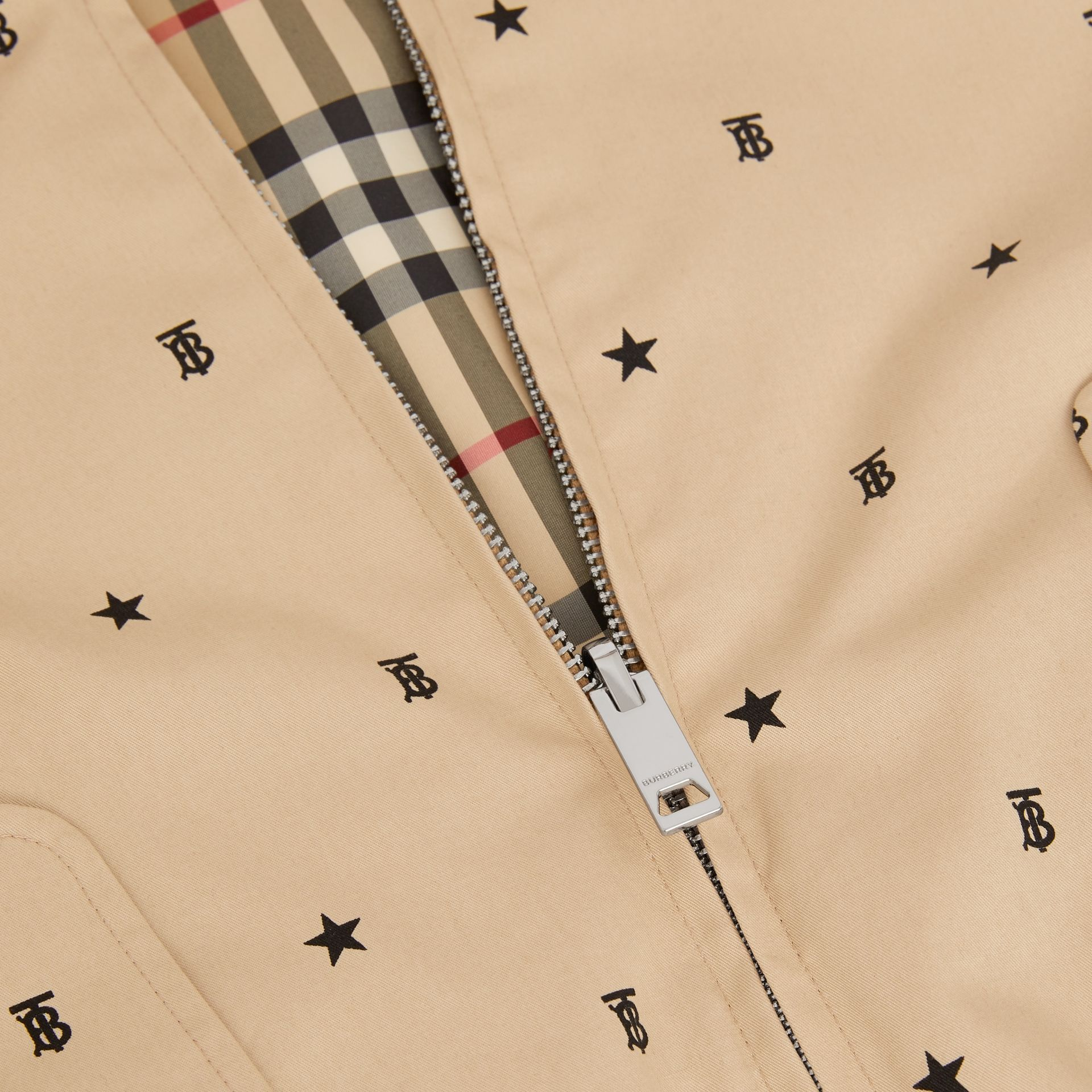 Reversible Star and Monogram Motif Cotton Jacket in Sand | Burberry - gallery image 1