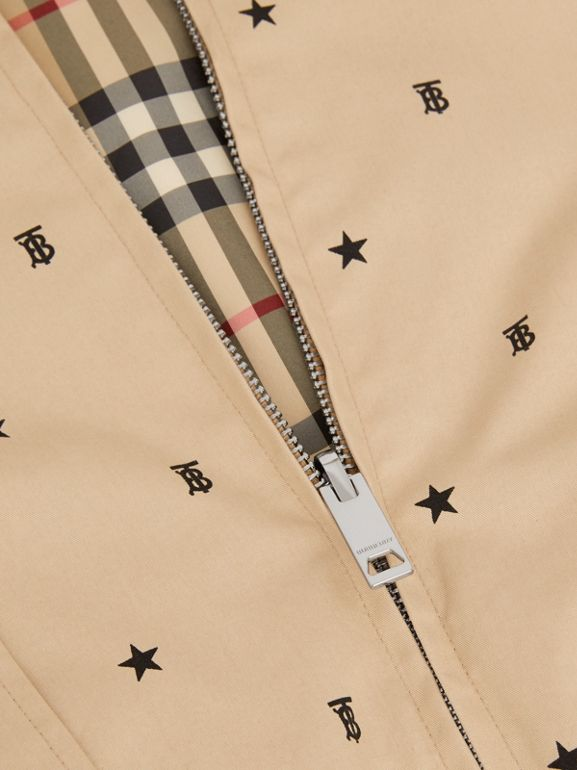 Reversible Star and Monogram Motif Cotton Jacket in Sand | Burberry - cell image 1