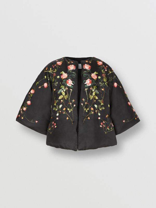 Rose Print Silk Cape in Black - Women | Burberry - cell image 3