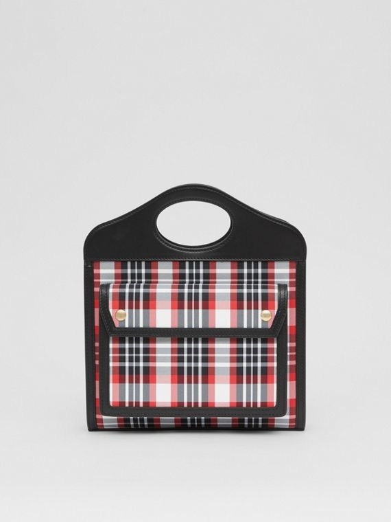 Borsa Pocket mini in nylon con motivo tartan e pelle (Rosso Intenso)