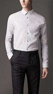 Slim Fit Striped Linen Cotton Shirt