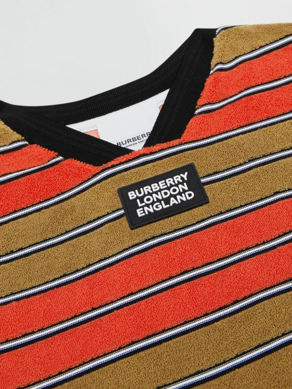 Logo Appliqué Striped Towelling T-shirt in Vermilion Red | Burberry - cell image 1