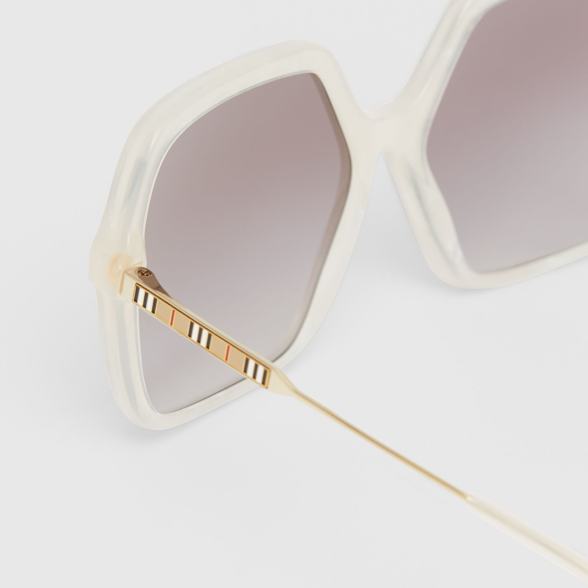 Oversized Square Frame Sunglasses in Pearl - Women | Burberry - gallery image 1