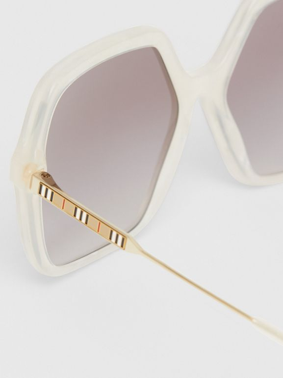 Oversized Square Frame Sunglasses in Pearl - Women | Burberry - cell image 1