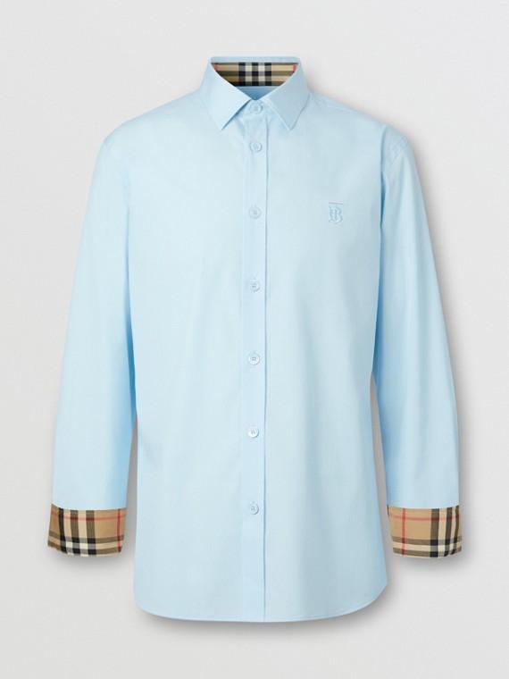 Slim Fit Monogram Motif Stretch Cotton Poplin Shirt in Pale Blue