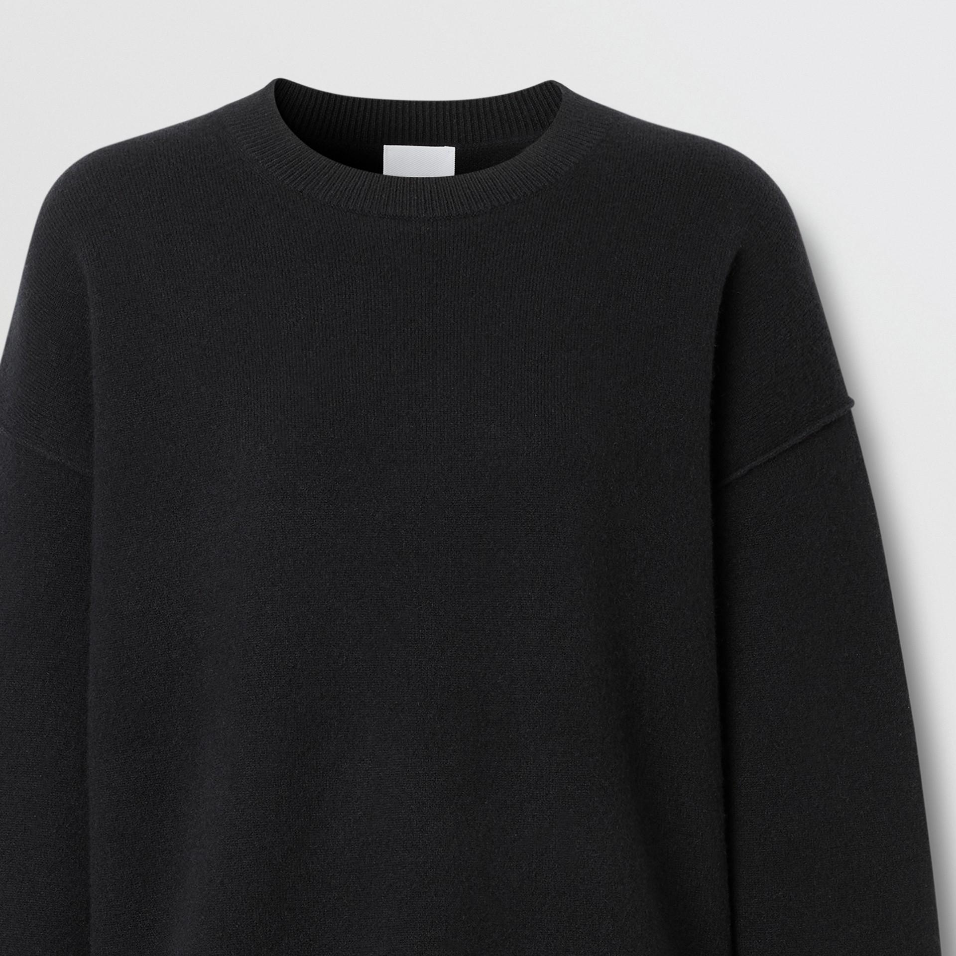 Monogram Motif Cashmere Blend Sweater in Black - Women | Burberry - gallery image 6