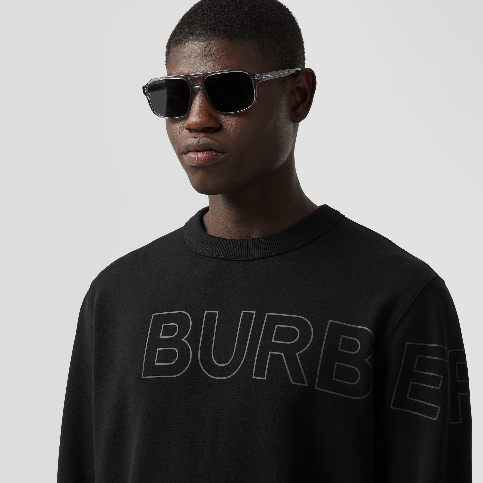 Suéter de algodão com estampa Horseferry (Preto) - Homens | Burberry - galeria de imagens 1
