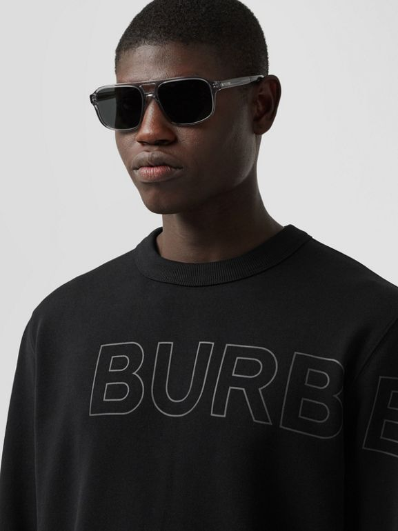 Horseferry Print Cotton Sweatshirt in Black - Men | Burberry - cell image 1