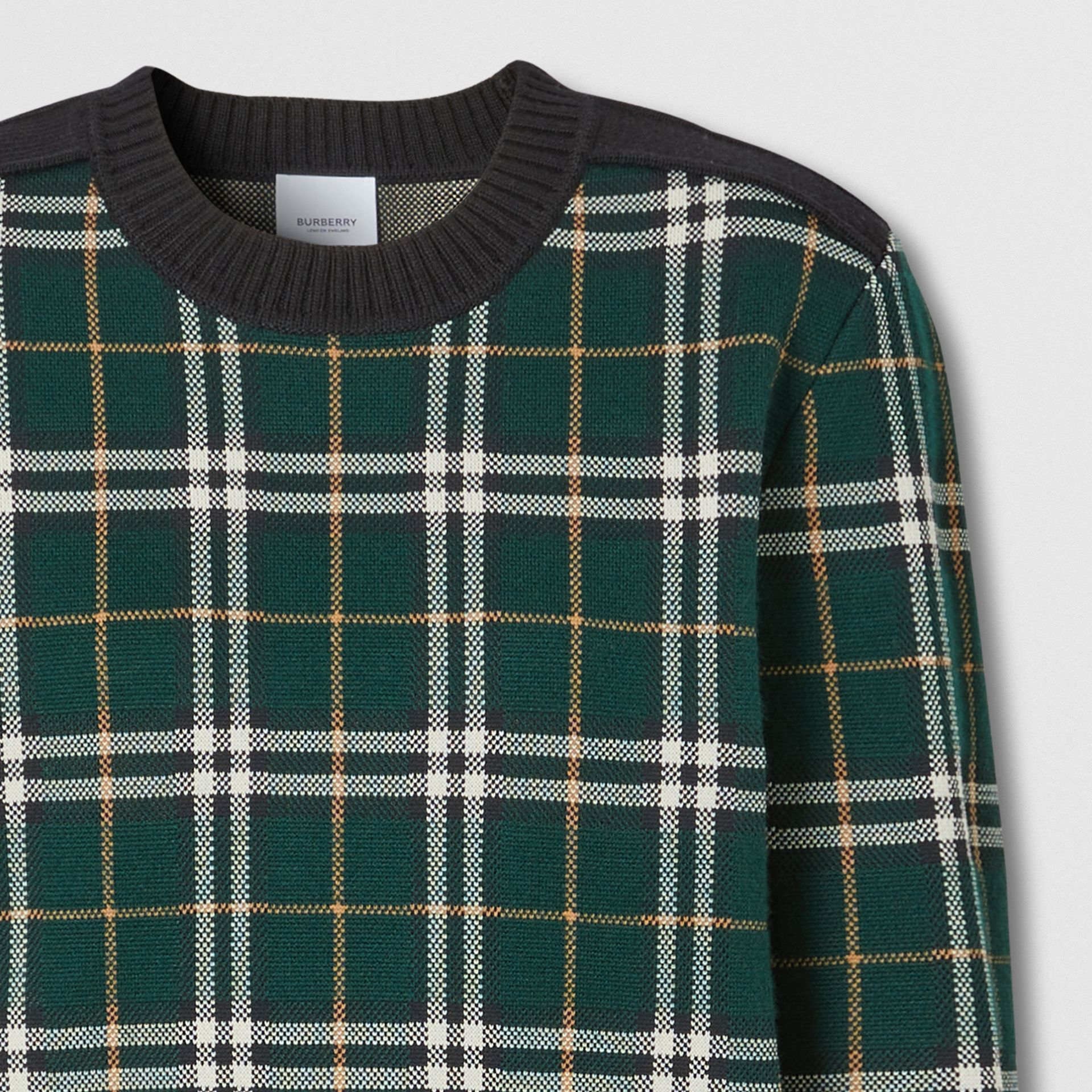 Check Technical Merino Wool Jacquard Sweater in Bottle Green - Women | Burberry - gallery image 7