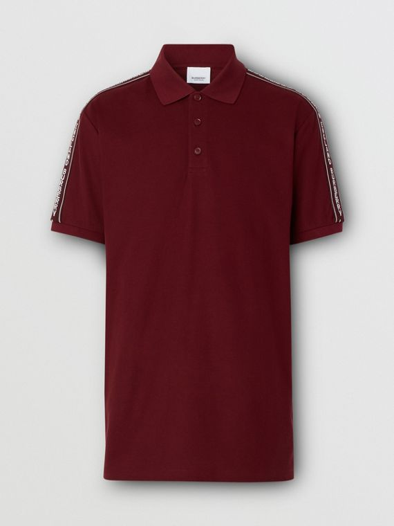 Logo Tape Cotton Piqué Polo Shirt in Deep Merlot