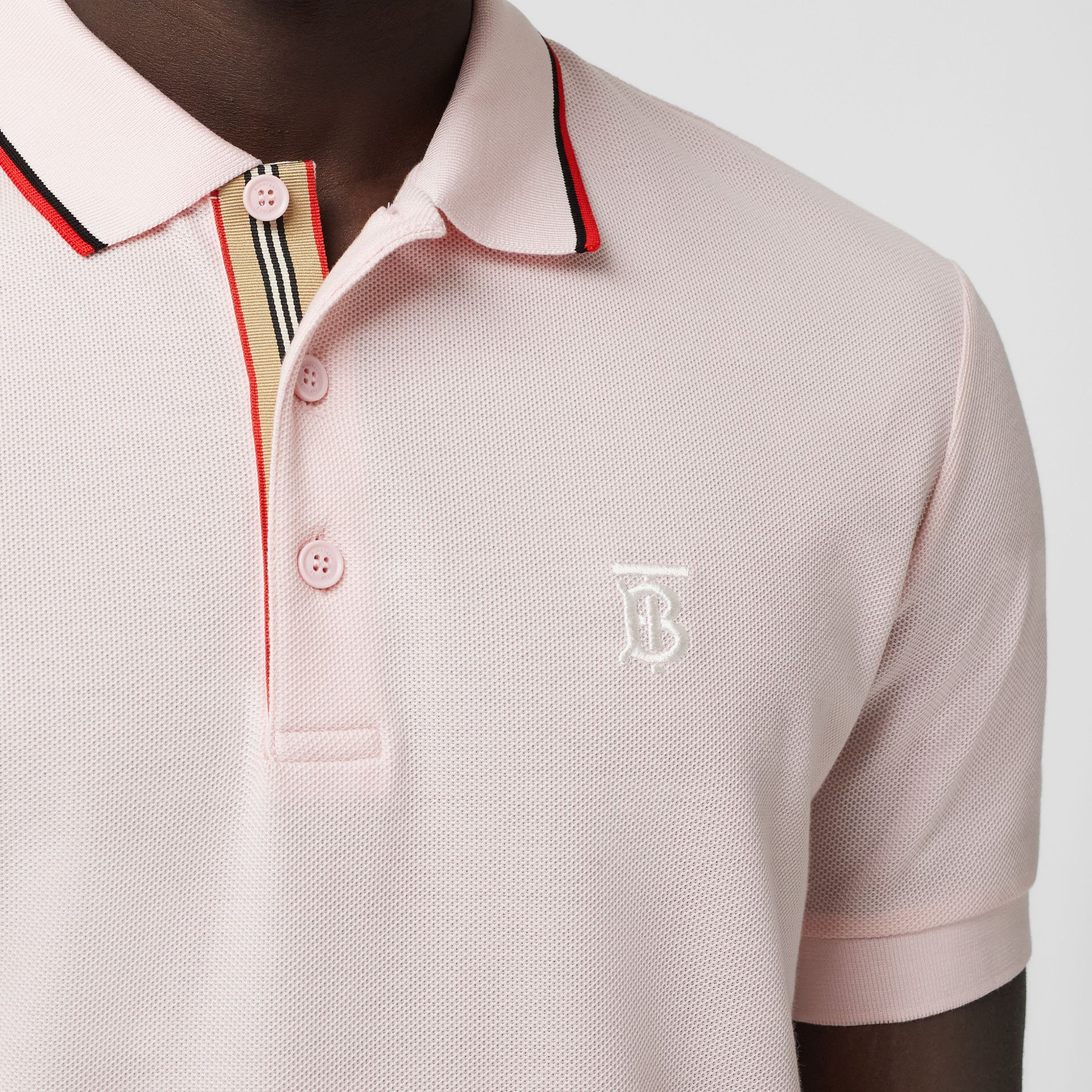 Monogram Motif Cotton Piqué Polo Shirt in Frosted Pink - Men | Burberry - gallery image 1