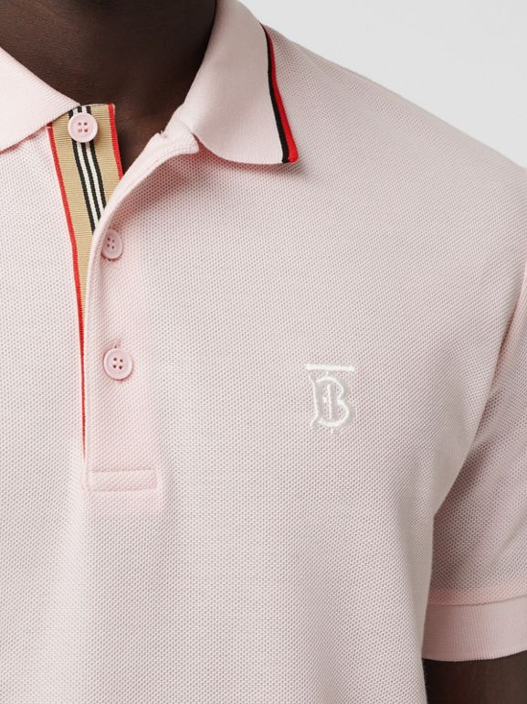 Monogram Motif Cotton Piqué Polo Shirt in Frosted Pink - Men | Burberry - cell image 1