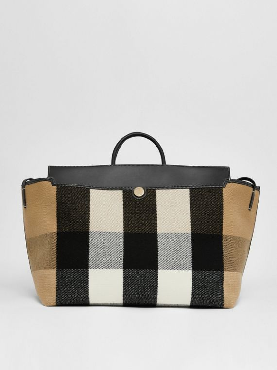 Check Wool Cashmere Society Holdall in Archive Beige
