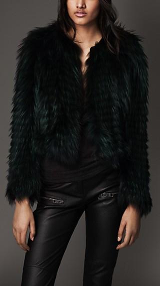 Collarless Fox Fur Jacket