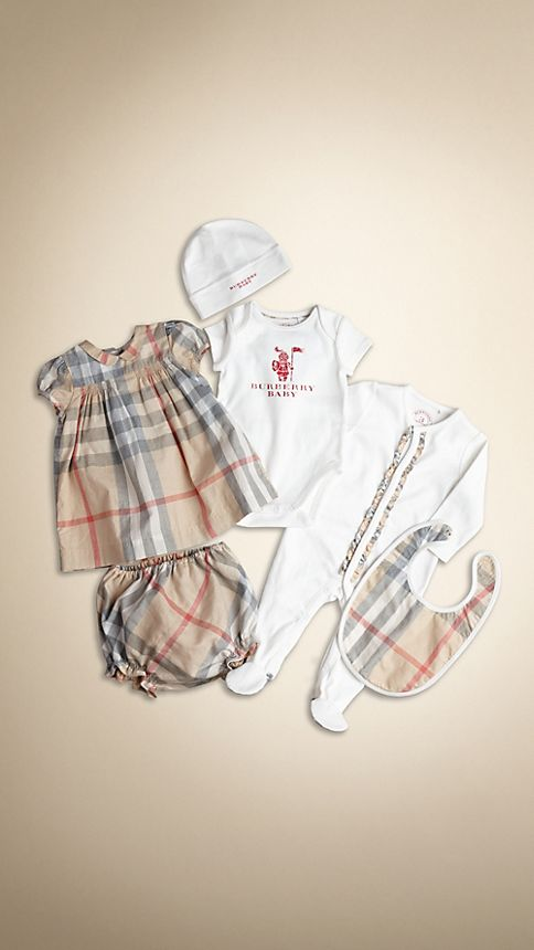 Burberry Baby Gift Sets : Cotton six piece baby gift set burberry