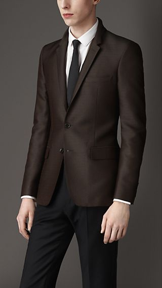 Slim Fit  Technical Silk Jacquard Jacket