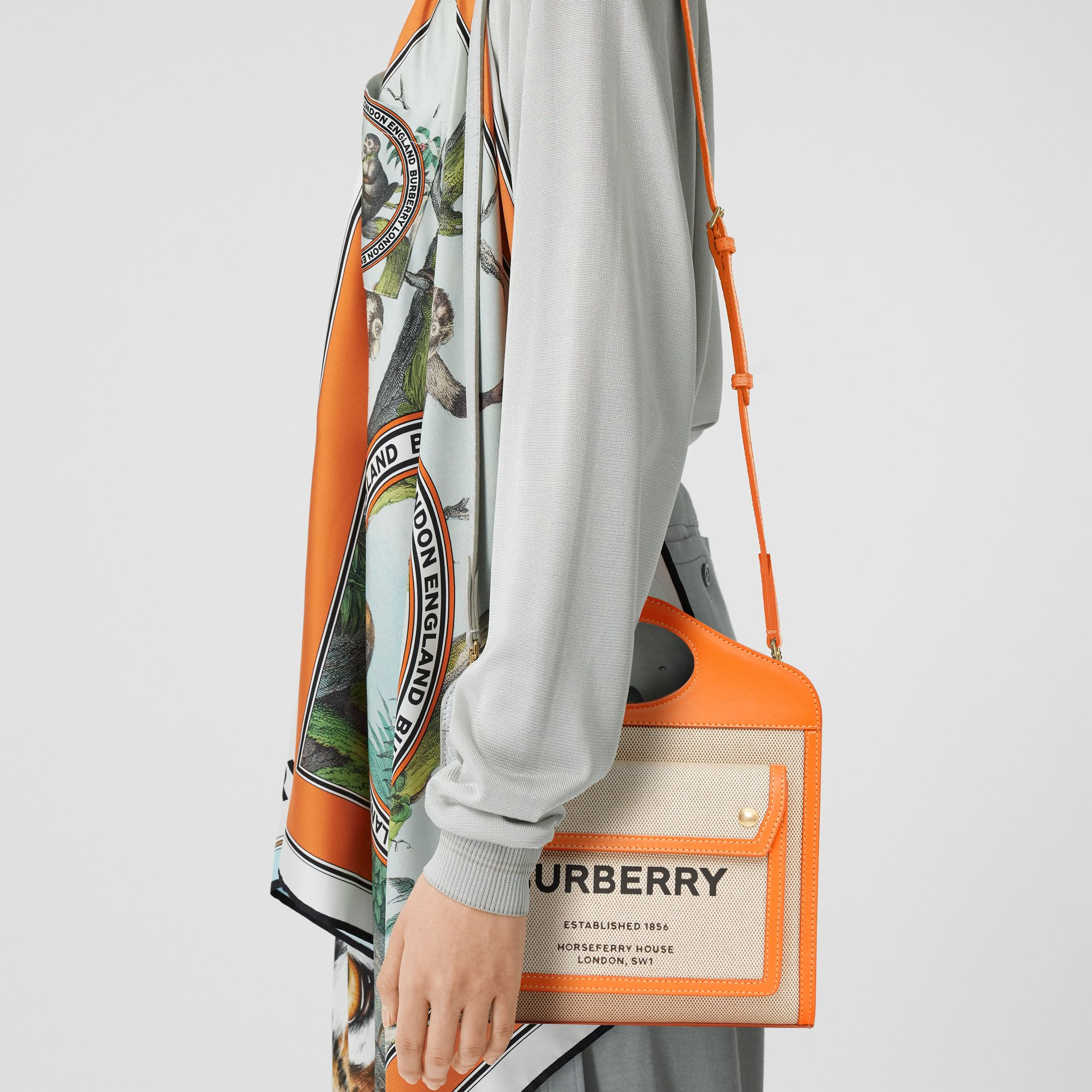 Mini Two-tone Canvas and Leather Pocket Bag in Orange - Women | Burberry - gallery image 7