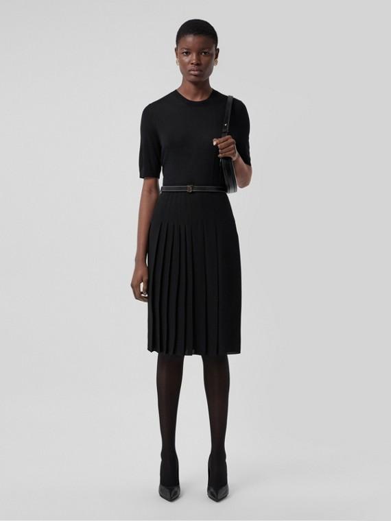 Short-sleeve Monogram Motif Wool Silk Cashmere Top in Black