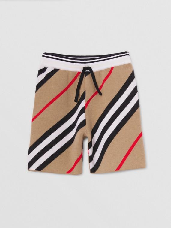 Icon Stripe Wool Blend Shorts in Archive Beige