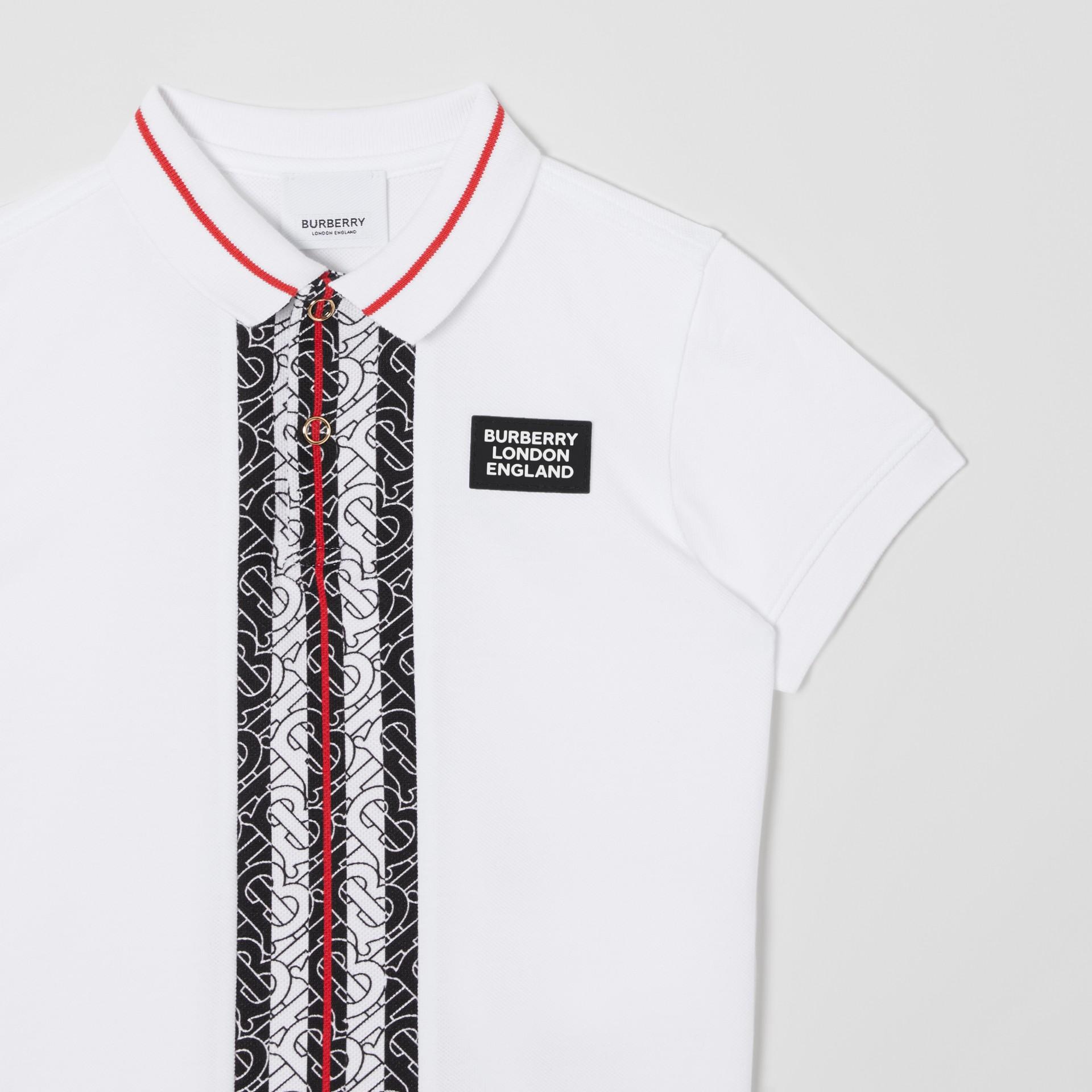 Poloshirt aus Baumwollpiqué mit Monogrammmuster im Streifendesign (Weiß) | Burberry - Galerie-Bild 4
