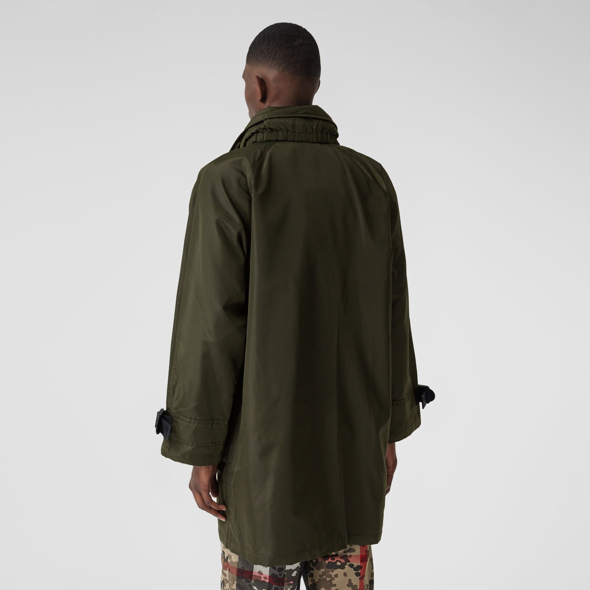 Packaway Hood Logo Tape Nylon Canvas Parka in Dark Olive - Men | Burberry - gallery image 2