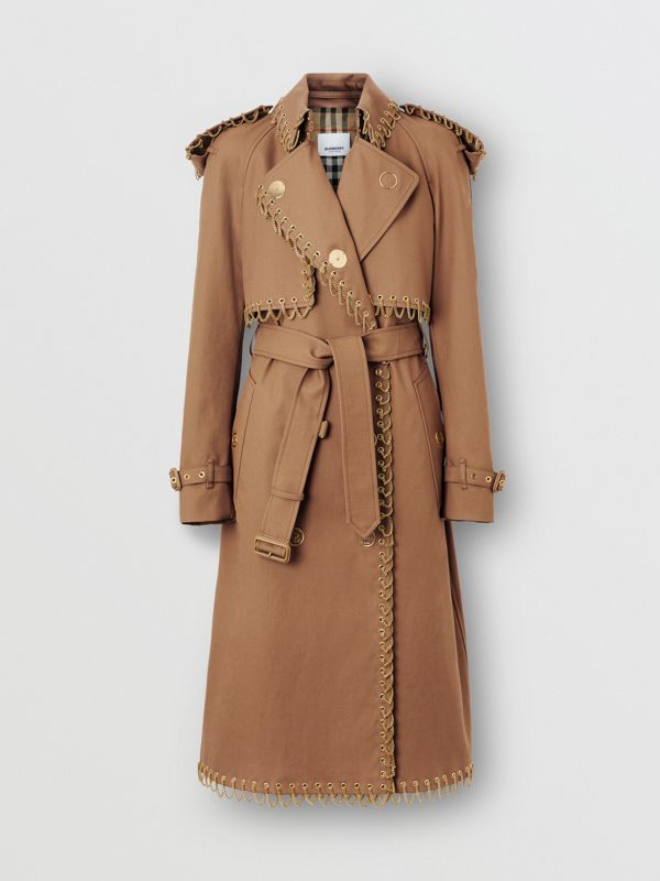 Chain Detail Cotton Gabardine Trench Coat in Warm Walnut - Women | Burberry - cell image 3