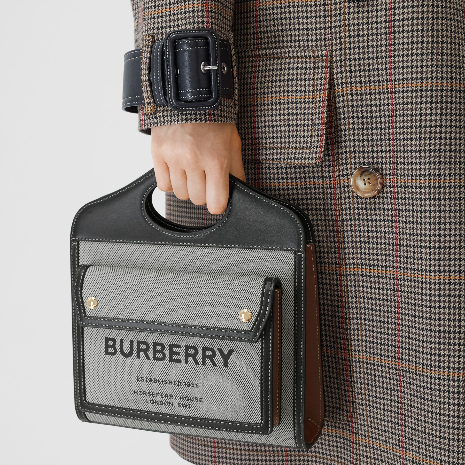 Mini Tri-tone Canvas and Leather Pocket Bag in Black/tan - Women | Burberry - gallery image 2