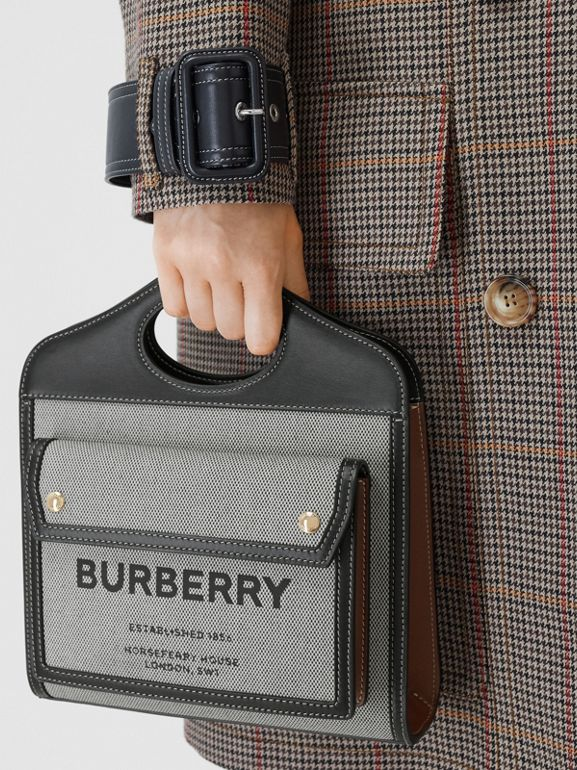Mini Tri-tone Canvas and Leather Pocket Bag in Black/tan - Women | Burberry - cell image 1