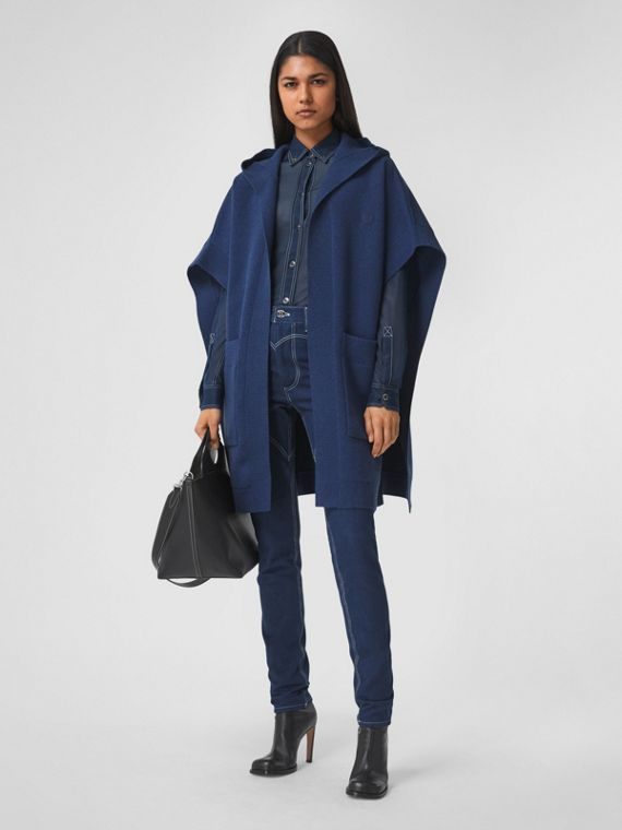 Monogram Motif Cashmere Blend Hooded Cape in Ink Blue