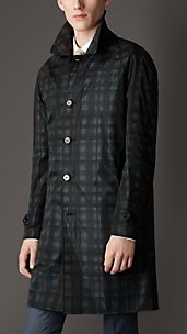 Reversible Abstract Check Car Coat