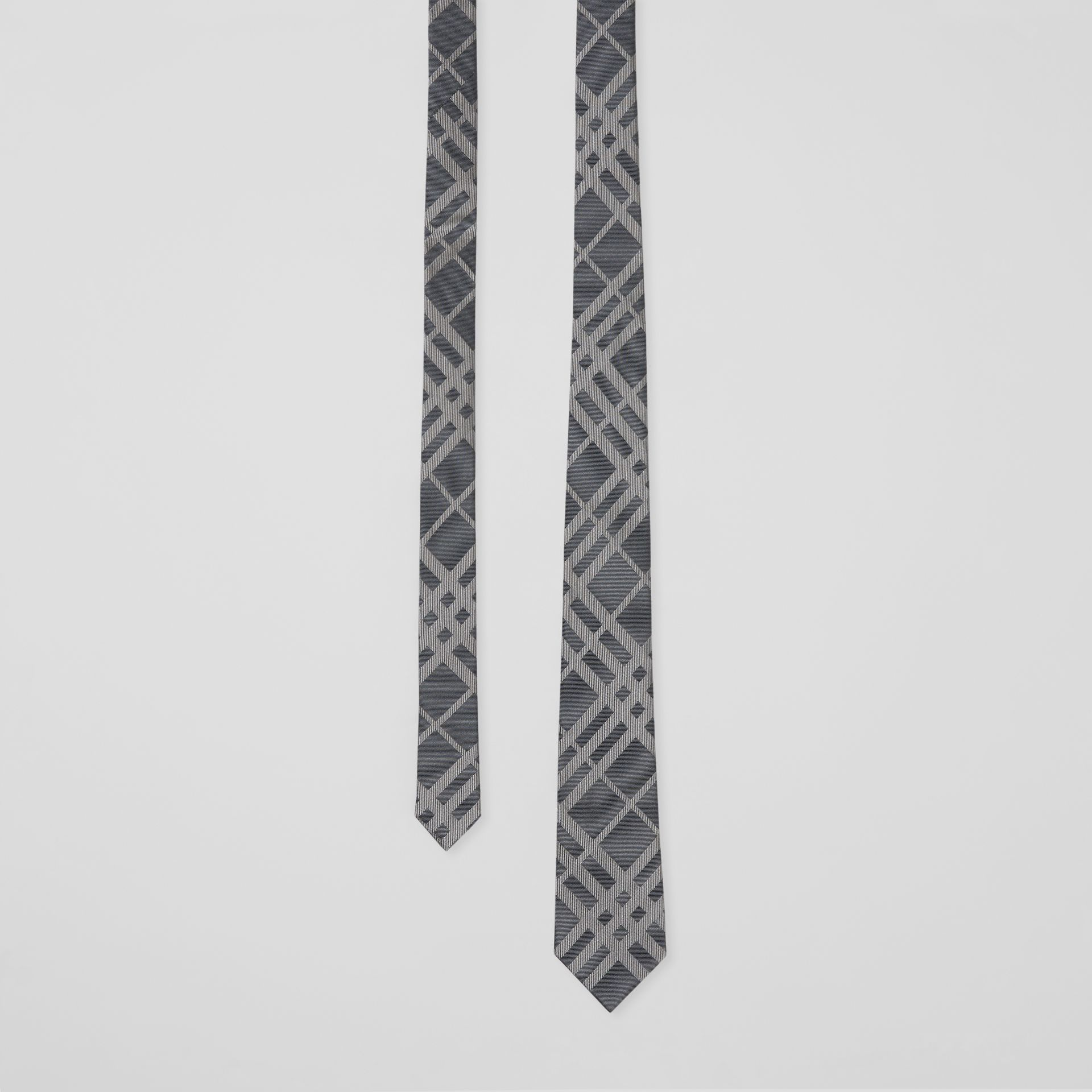 Classic Cut Check Silk Jacquard Tie in Mid Grey - Men | Burberry - gallery image 0