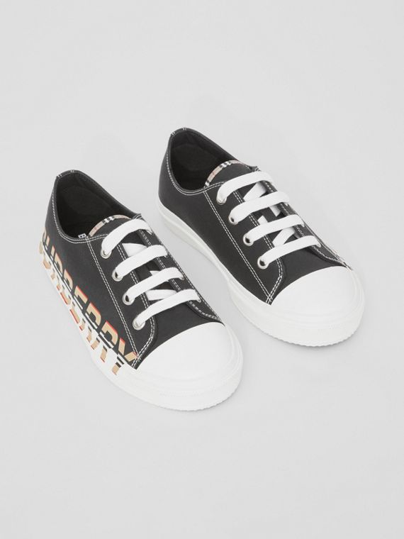 Icon Stripe Logo Print Cotton Gabardine Sneakers in Black