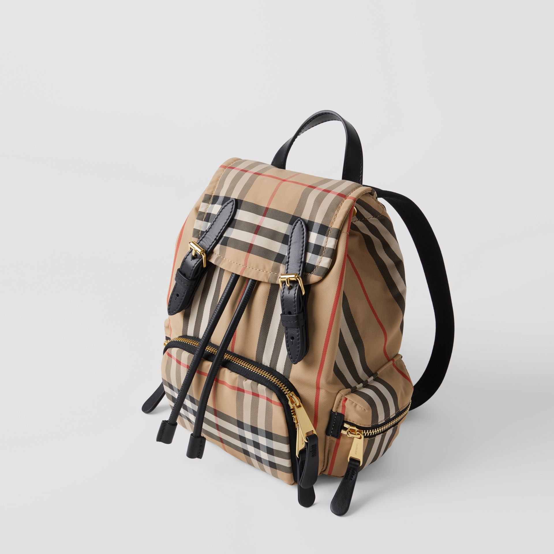 The Small Rucksack in Icon Stripe ECONYL® in Archive Beige - Women | Burberry Australia - gallery image 2