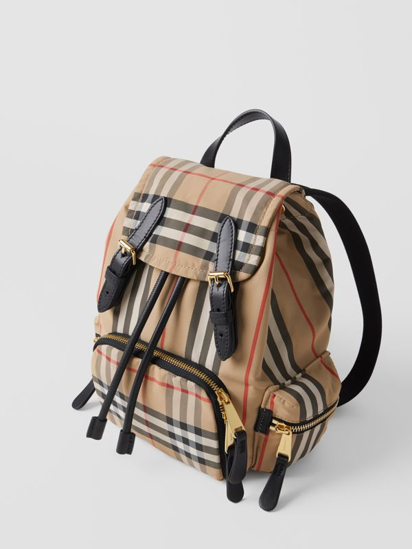 The Small Rucksack in Icon Stripe ECONYL® in Archive Beige - Women | Burberry Australia - cell image 2