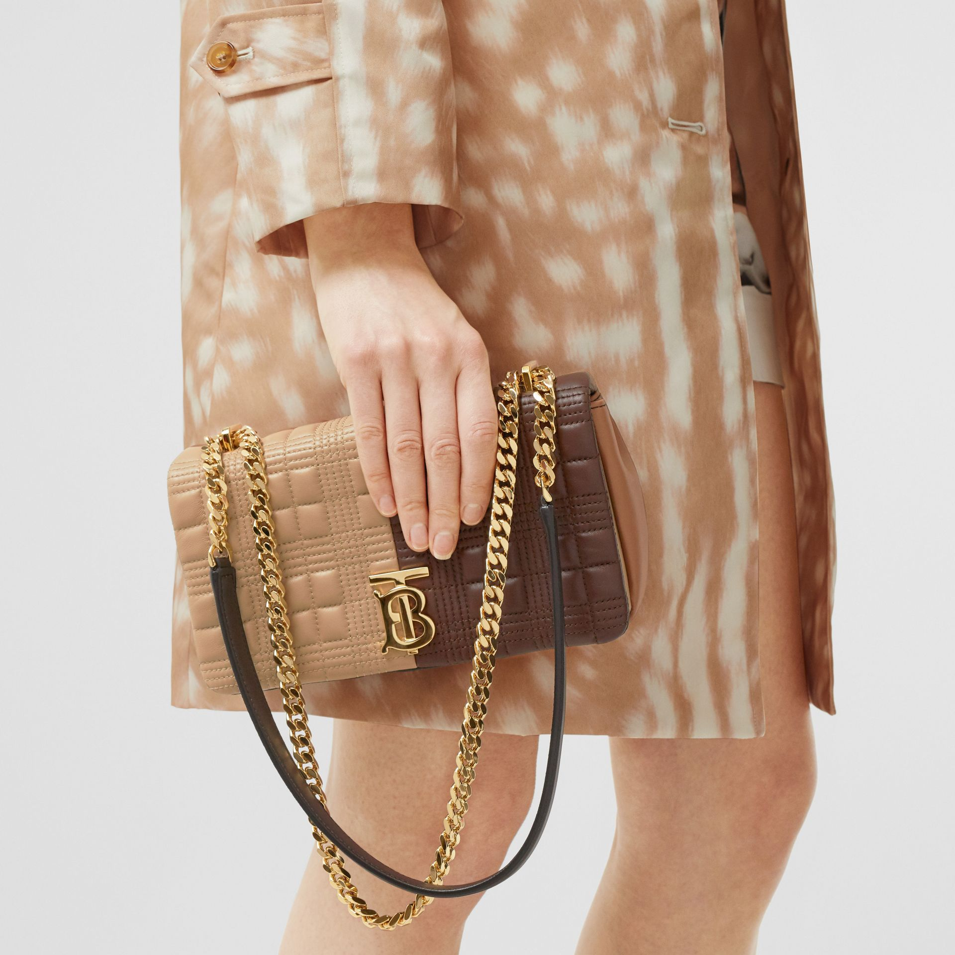 Small Quilted Colour Block Lambskin Lola Bag in Soft Fawn/dark Mocha - Women | Burberry United Kingdom - gallery image 9