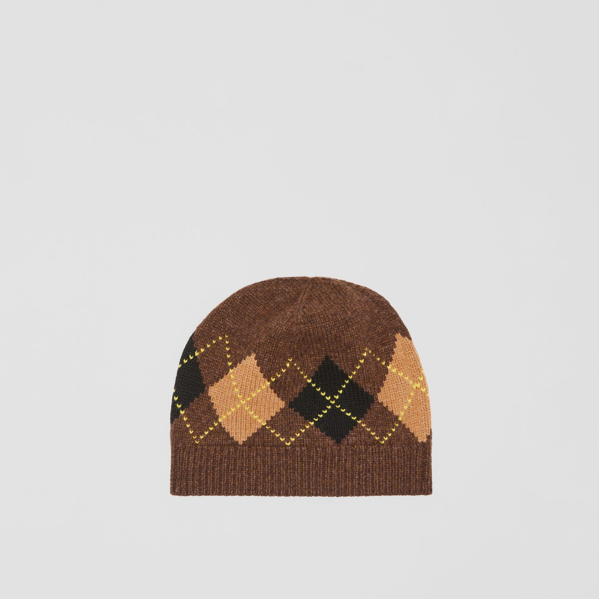 Argyle Intarsia Wool Cashmere Beanie in Brown | Burberry - gallery image 4