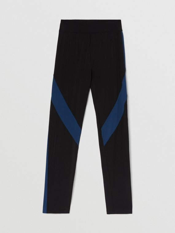 Two-tone Stretch Jersey Leggings in Black