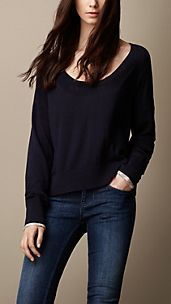 Wide Neck Cotton Cashmere Sweater