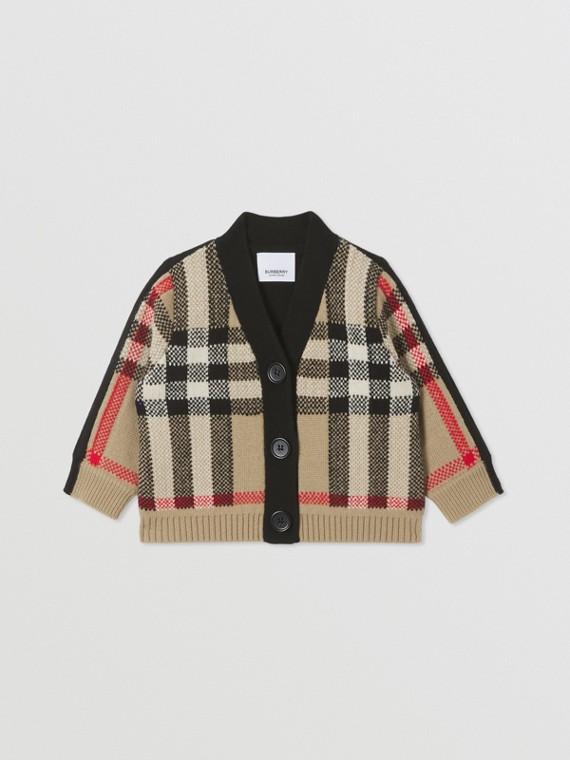 Cardigan en jacquard de laine et cachemire check (Beige D'archive)