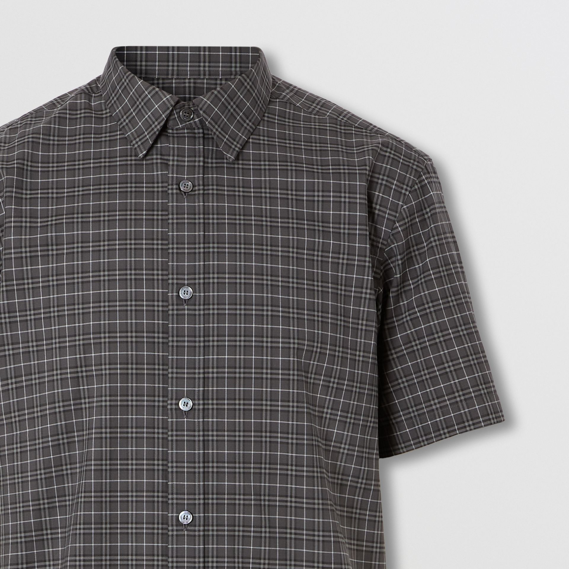 Short-sleeve Check Cotton Shirt in Dark Grey - Men | Burberry - gallery image 1